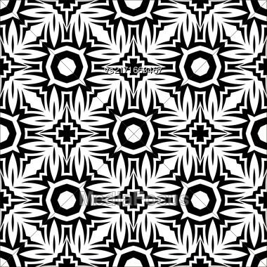 Decorative Retro Seamless Pattern. Ornamental Black White Background Stock Photo