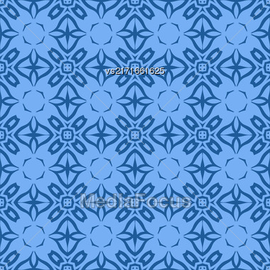 Decorative Retro Seamless Pattern. Ornamental Blue Background Stock Photo