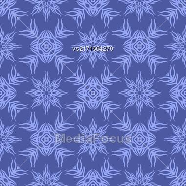 Decorative Retro Seamless Pattern. Ornamental Blue Background Stock Photo