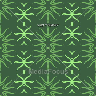Decorative Retro Seamless Pattern. Ornamental Green Background Stock Photo