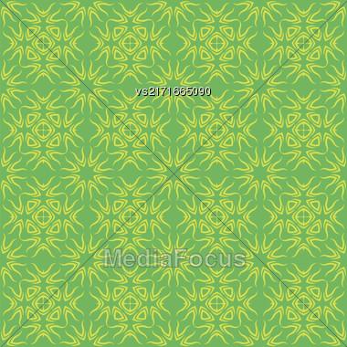 Decorative Retro Seamless Pattern. Ornamental Green Background Stock Photo