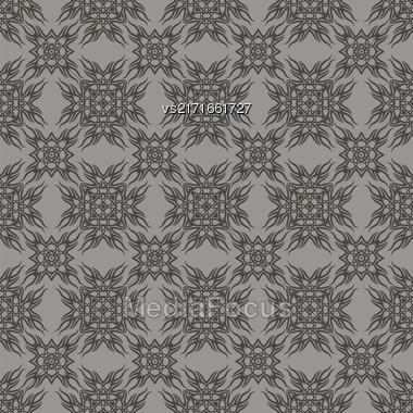 Decorative Retro Seamless Pattern. Ornamental Grey Background Stock Photo