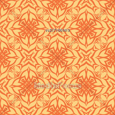 Decorative Retro Seamless Pattern. Ornamental Orange Background Stock Photo