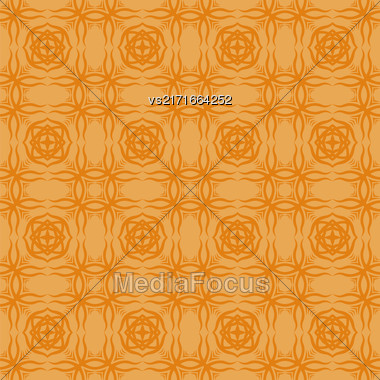 Decorative Retro Seamless Pattern. Ornamental Orange Background Stock Photo