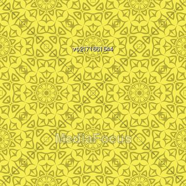 Decorative Retro Seamless Pattern. Ornamental Yellow Background Stock Photo