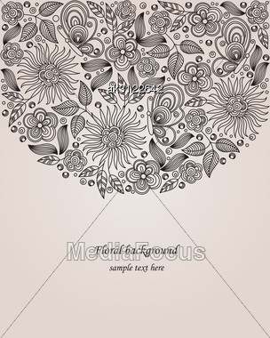 Decorative Vector Floral Drawing With Flowers, Leaves And Butterflies Stock Photo