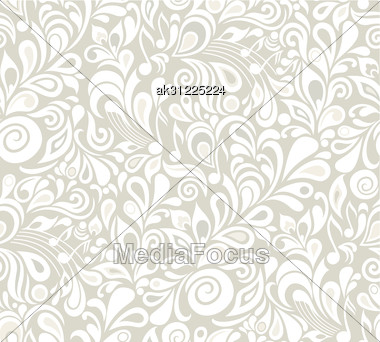 Decorative Vector Musical Floral Seamless Background With Notes And Leaves Stock Photo