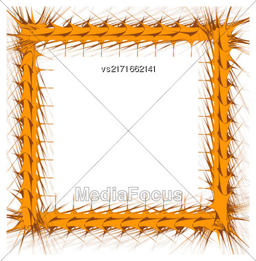 Decorative Yellow Frame Isolated On White Background Stock Photo