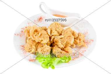 Deep-fried Squid With Salad Leaves, Sauce Stock Photo