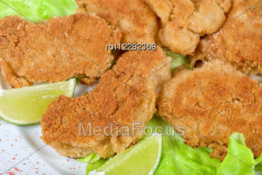 Deep-sea Scallop Marinated At Soy Sauce And Coat With Breadcrumbs Stock Photo