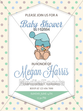 Delicate Baby Boy Shower Card With Little Baby, Vector Format Stock Photo