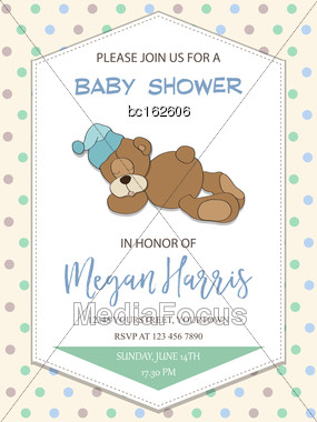 Delicate Baby Boy Shower Card With Little Teddy Bear, Vector Format Stock Photo