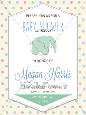 Delicate Baby Boy Shower Card With Little Elephant, Vector Format Stock Photo