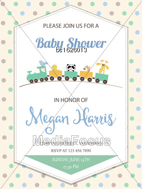 Delicate Baby Boy Shower Card With Toy Train, Vector Format Stock Photo