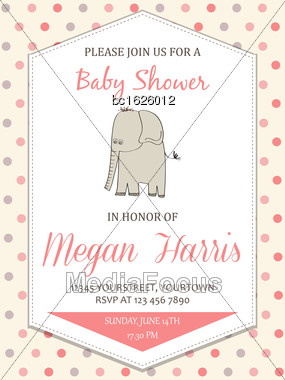 Delicate Baby Girl Shower Card With Little Elephant, Vector Format Stock Photo
