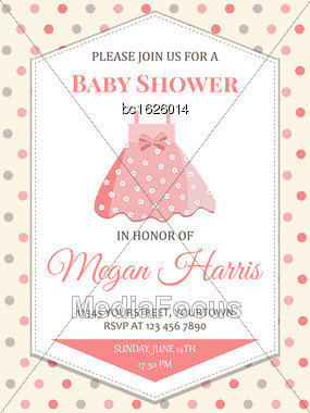 Delicate Baby Girl Shower Card With Little Pink Dress, Vector Format Stock Photo