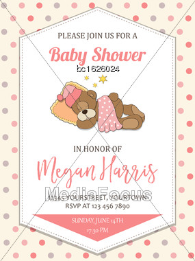 Delicate Baby Girl Shower Card With Little Teddy Bear, Vector Format Stock Photo
