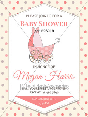 Delicate Baby Girl Shower Card With Stroller, Vector Format Stock Photo