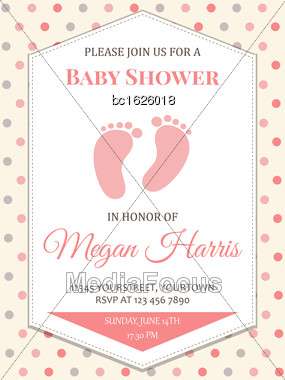 Delicate Baby Girl Shower Card, Vector Format Stock Photo