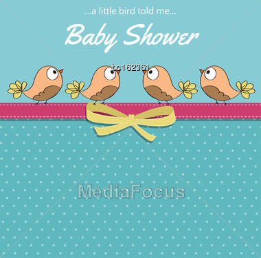 Delicate Baby Shower Card With Little Birds, Vector Format Stock Photo