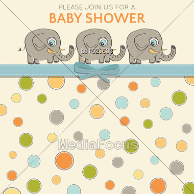 Delicate Baby Shower Card With Little Elephants, Vector Format Stock Photo