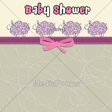 Delicate Baby Shower Card With Purple Sheep, Vector Format Stock Photo