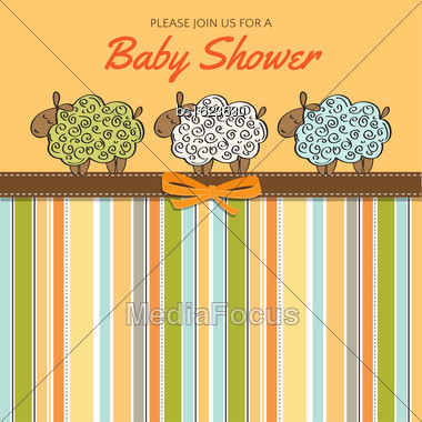 Delicate Baby Shower Card With Sheep, Vector Format Stock Photo