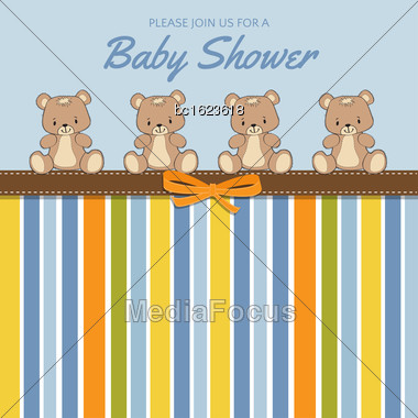 Delicate Baby Shower Card With Teddy Bears, Vector Format Stock Photo