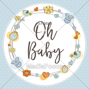 Delicate Baby Shower Card, Vector Illustration Stock Photo