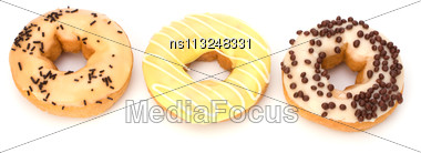 Delicious Doughnut Isolated On White Background Stock Photo