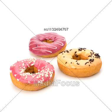 Delicious Doughnuts Isolated On White Background Stock Photo