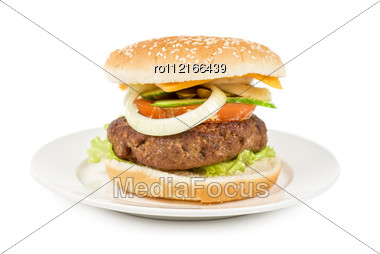 Delicious Grilled Burger On Wheat Buns Isolated On A White Stock Photo