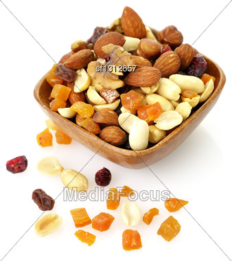 Delicious And Healthy Mixed Dried Fruit, Nuts And Seeds Stock Photo