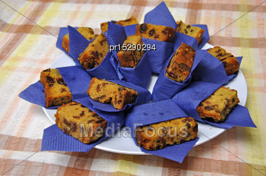 Delicious Homemade Fruit Cake Ready To Serve Stock Photo
