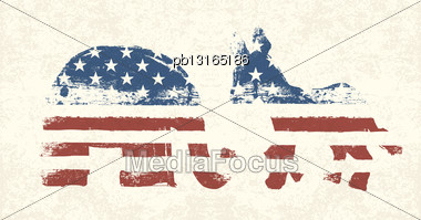 Democratic And Republican Political Symbols Stock Photo