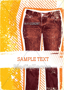Denim Background For Design With Grunge Elements For Text.Jeans Stock Photo