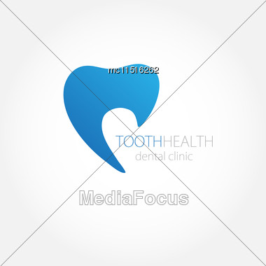 Dental Clinic Logo With Blue Tooth Icon Stock Photo