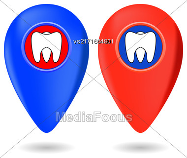 Dentist Icon, Dentist Red Marker, Dentist Red Icon, Dentist Icon Blue, Dentist Marker Blue, Dentist I, Dentist Icon Set, Dentist Icon Isolated On White, Dentist Icon Web, Dentist Icon Art Stock Photo