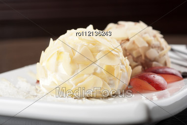 Dessert Set Of Ice-cream With Almond, Chocolate And Grapes Stock Photo