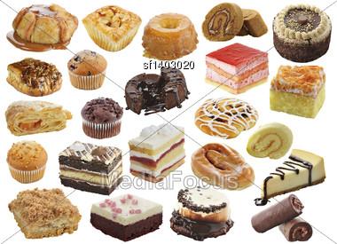 Desserts Assortment Isolated On White Stock Photo