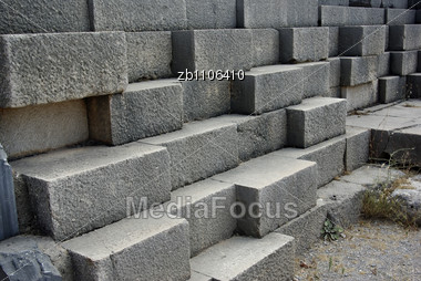 Detail Of Ancient Stone Block Wall At Delphi, Greece Stock Photo