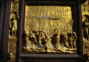 Detail of East doors of the Bapistry, Florence, Italy, designed by Ghiberti, 1425-53 Stock Photo