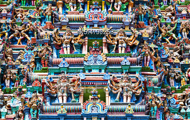 Detail Of Meenakshi Temple In Madurai, India Stock Photo