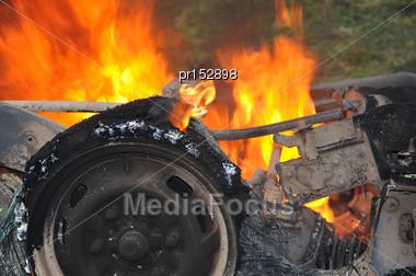 Detail Of Burning Car Wreckage Stock Photo
