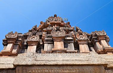 Detail Of Hindu Temple, Hampi, India Stock Photo