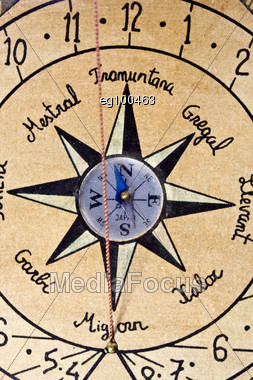 Detail Of A Navigation Bar Showing The Compass Stock Photo