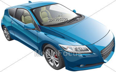 Detail Vector Image Of Blue Modern Sport Car, Isolated On White Background. File Contains Gradients And Transparency. No Blends And Strokes. Easily Edit: File Is Divided Into Logical Layers And Groups Stock Photo