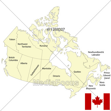 Detailed Map Of Canada Stock Photo