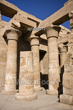 Details Of Egyptian Art. An Example Of The Art Of The Pharaohs. Kom-Ombo temple Stock Photo