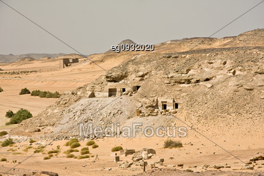 Details Of Egyptian Art. An Example Of The Art Of The Pharaohs. El Seboua Temple Stock Photo